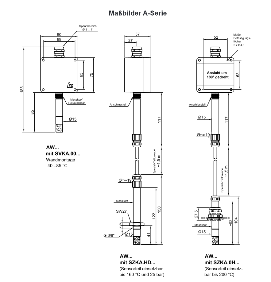 Humdity Rh And Temperature Sensors With Hx Converter Ip 65 Digital Thermometer Circuit Diagram Temperaturesensor Sensor A Und B Serie Productsheet