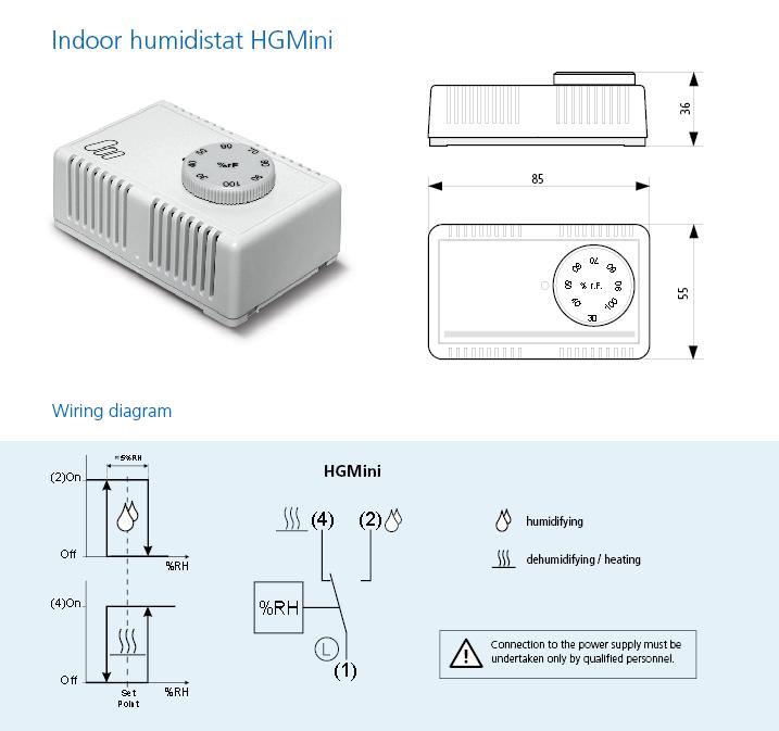 hygrostat d 39 ambiance hg mini type hg mini i et hg mini schnapp capteurs de l humidit et. Black Bedroom Furniture Sets. Home Design Ideas